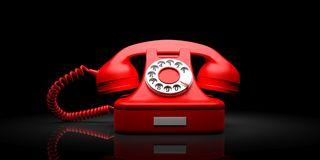 Red old telephone on black background. 3d illustration. Red old telephone isolated on black background. 3d illustration Royalty Free Stock Image