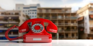 Red old telephone on city abstract background. 3d illustration. Red old telephone on urban abstract background. 3d illustration Royalty Free Stock Photos