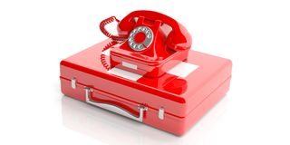 Red old telephone on a first aid kit. 3d illustration Royalty Free Stock Photo