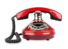 Red old telephone. Isolated on white background Royalty Free Stock Photos