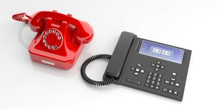 Red old telephone and modern telephone device on white background. 3d illustration Royalty Free Stock Images