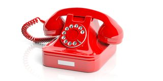 Red old telephone on white background. 3d illustration Stock Photos