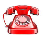 Red old telephone. On white background(done in 3d royalty free illustration
