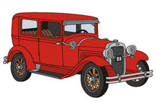 Red old timer. Hand drawing of red vintage car Royalty Free Stock Photography