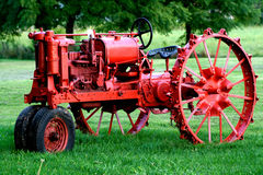 Red old tractor Stock Photography
