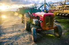 Red old tractor Stock Images