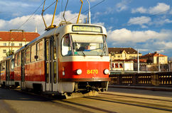Red old tram in Prague city Royalty Free Stock Photo