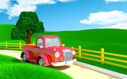 Red old truck with farm field Royalty Free Stock Image