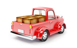 Red old truck loaded back Stock Image