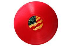 Red Old Vinyl Record With USA Flag Stock Images