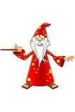 Red Old Wizard Character. A cartoon illustration of a magical old wizard in a red outfit Stock Image