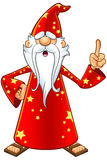 Red Old Wizard Character. A cartoon illustration of a magical old wizard in a red outfit vector illustration