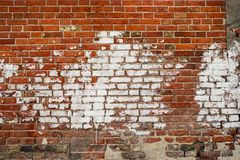 Red old worn brick wall texture background. Vintage effect color philter. royalty free stock photos