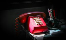 Red oldie telephone stock image