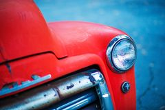 Red Oldtimer Pickup Closeup Royalty Free Stock Photography