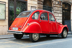 Red oltimer Citroen 2cv6 Special, back view Stock Photography