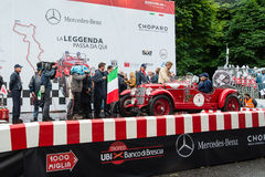 Red OM 665 Superba, 1929, starts the 1000 Miglia Royalty Free Stock Image