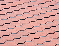Red Onduline Roof Tiles Stock Photo