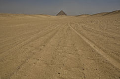 The Red One. Desert paths near the big red pyramid Stock Images