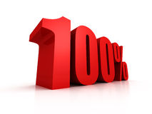 Red one hundred percent off symbol. Discount 100%. 3D render  illustration Royalty Free Stock Photography