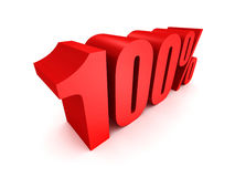 Red one hundred percent off symbol. Discount 100%. 3D render  illustration Royalty Free Stock Image