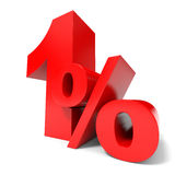 Red one percent off. Discount 1%. Royalty Free Stock Photos