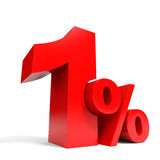 Red one percent off. Discount 1%. Royalty Free Stock Photography