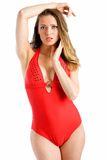 Red one-piece. Marina poses wearing her red one-piece swimsuit Stock Image