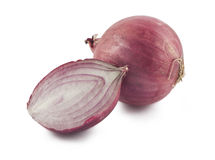 Red onion. One and half red onions isolated on white background Stock Photo