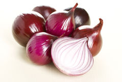 Red onion. Isolated on a white background Stock Photos