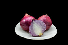 Red Onion. In cross section Stock Image