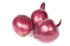 Red onion. Isolated on white background Stock Photos