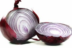 Red Onion. Red onion bulb cut in half over white background Stock Photography