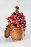 Red Onion on the basket Stock Photo