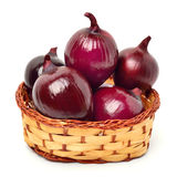 Red onion in the basket Royalty Free Stock Photography