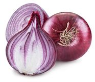 Red onion bulb and cross sections of onion. File contains clipping path stock image