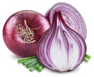 Red onion bulb and cross sections of onion on the white background royalty free stock images