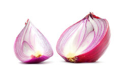 Red onion bulb half and quater cut vertical longitudinal section Stock Images