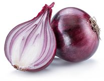 Red onion bulb and onion cross section on the white background royalty free stock photo
