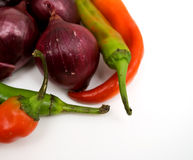 Red onion, chilli pepper and haricot beans, close- Stock Photography
