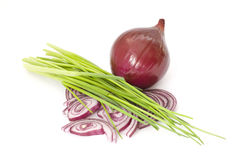 Red onion and chives Royalty Free Stock Images
