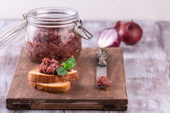 Red onion chutney in a jar Stock Photos