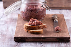 Red onion chutney in a jar Stock Image