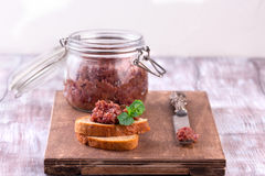 Red onion chutney in a jar Royalty Free Stock Images