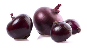 Red onion in closeup. On white background with shadows stock image