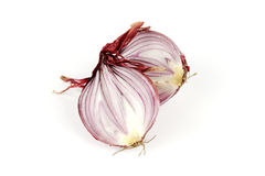 Red Onion Cut in Half Royalty Free Stock Image