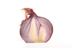 Red onion cut in half. Photo graph of a red onion cut in half and shot in studio on a white background Stock Images