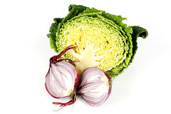 Red Onion Cut in Half with Cabbage Royalty Free Stock Photography