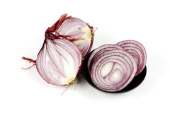 Red Onion Cut in Half with Slices Stock Photos