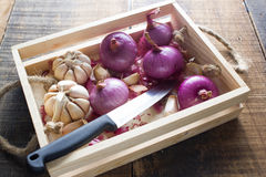 Red onion. Fresh red onion in wood basket Stock Photography